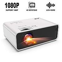 迷你投影仪 - Artlii Enjoy 便携式投影仪 ±45° 数字 4D 梯形校正,低噪音,高保真立体声,1080P 支持电影投影仪兼容 HDMI Chromecast 电视智能手机视频游戏