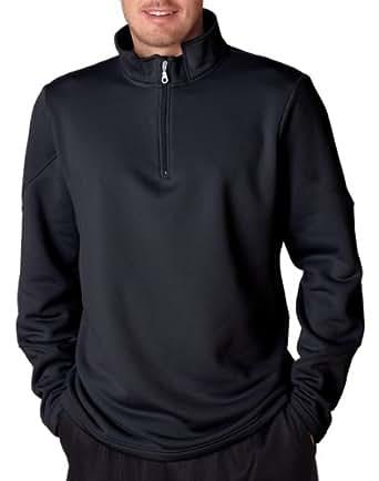 UltraClub Men's Performance Wicking Anti Pill Pullover Fleece, Large, Black