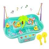 Zooawa 钓鱼游戏玩具套装,音乐水桌漂浮鱼和鸭子带旋水池池和钓鱼杆水上玩具套装,幼儿和儿童,薄荷绿