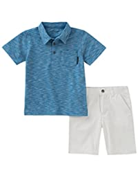 Calvin Klein 婴儿男孩2件 POLO 衫短裤套装