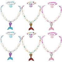 PinkSheep 美人鱼串珠项链儿童手链,小女孩美人鱼珍珠首饰套装,6 件装 12 件装,派对礼品袋 美人鱼