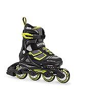 Rollerblade Spitfire XT 男孩可调节健身内嵌滑冰鞋,黑色和绿黄色,青少年性能内嵌滑冰鞋