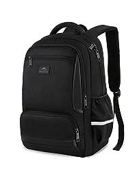 MATEIN 学生背包,男式女式笔记本电脑背包,防水学生书包,大学高中女孩男孩,适合 15.6 英寸笔记本电脑和笔记本电脑,黑色
