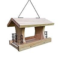灰色兔子豪华料斗喂食器,带 2 个小鸟笼,实木大型野生鸟类喂食器,悬挂式喂鸟器,用于吸引鸟类、红雀、啄木鸟类等!