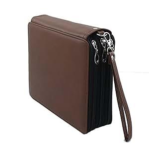 Gunsamg 120 插槽彩色铅笔盒/凝胶笔盒/化妆刷盒/薄笔笔,带附赠橡皮笔盒,PU 皮铅笔盒,存储材料 棕色