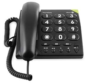 Doro PhoneEasy 311 c, 线 gebundenes 大号按钮手机带光纤电话信号清点 黑色