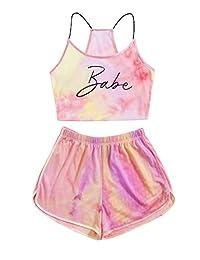 Shein 女式 2 件套套装,扎染字母短裤和露脐吊带上衣套装
