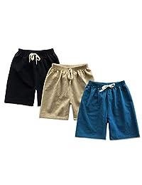 SOBOWO 幼儿男童女童短裤 3 件装纯棉夏季套装休闲哈伦裤慢跑裤