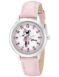 Disney Kids 迪士尼米妮时间老师系列不锈钢手表 配粉红色皮革带 W000038