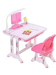 缘诺亿 跨境出口儿童学习桌书桌可升降小孩桌子多功能写字桌椅组合套装 (T7桌子+椅子+阅读架+LED护眼灯公主粉)