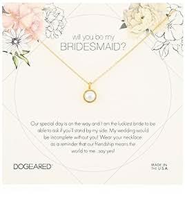 Dogeared WILL YOU BE MY Bridesmaid 花牌大边框珍珠吊坠链项链,16+ 2英寸(约45.7厘米)长度扩展  金色 one_size
