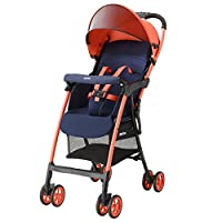 日本 Aprica 阿普丽佳 婴儿推车 魔捷轻风高景观推车(橙色) 车重3.0kg(适合7个月-3岁,5点式安全带,坐垫快拆轻松洗,柔软悬浮吸震轮,大容量置物篮)