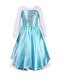 relibeauty 小女孩公主艾莎化妆舞会服装