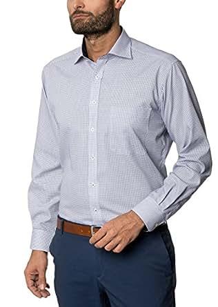 舒适长袖珊瑚色/白色方格纹领经典肯特领 蓝色 Kragenweite: 42 cm