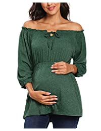 pinkydot 孕妇女式七分袖露肩 EMPIRE LINE 孕妇弹力长裙适合派对和婴儿淋浴