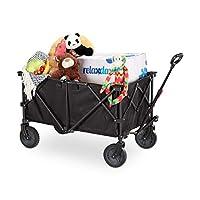 Relaxdays 婴儿车可折叠,可调节手柄,耐用PVC,360°可旋转,手推车橡胶轮胎,黑色