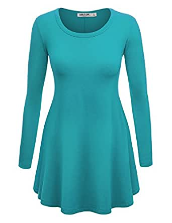 LL Womens Long Sleeve Scoop Neck Trapeze Tunic - Made in USA  Wt767_jade X-Large