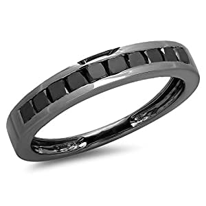 0.90 Carat (ctw) Black Rhodium Plated Sterling Silver Black Diamond Bridal Wedding Band Ring (Size 7)