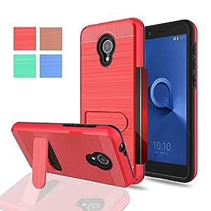 Alcatel IdealXTRA 5059R (AT&T) 手机壳,Alcatel 1X Evolve (2018),Alcatel TCL LX A502DL 手机壳,WINGLIKE [卡槽支架][钱包]支架混合防震保护壳,适用于 Alcatel 1X EvolveWinglike Alcatel 1X Evolve 红色