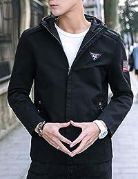 Goralon 新款男士外套秋冬装休闲连帽夹克外套韩版青年男装上衣百搭贴布夹克衫男外套