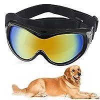 URBEST 狗护目镜,狗狗*太阳镜,狗狗滑雪护目镜,防紫外线,带可调节肩带,适合旅行 黑色