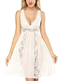 DLOREUK 女式加大码内衣蕾丝娃娃睡裙 V 领睡衣 S-4XL