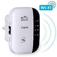 WIFI 范围扩展器,AIGITAL 300Mbps 无线互联网信号增强器 Wi-Fi 中继器 2.4GHz 网络爆发,覆盖更远的范围并消除 WiFi 死点