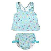 i play. by green sprouts 两件式分体式泳衣带按扣可重复使用游泳尿布 | 女婴泳衣 | 轻质,*设计