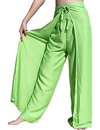 RaanPahMuang 纯色人造丝 泰国 驾车 包裹式裤子 宽剪裁 休闲