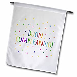 3dRose fl_202039_1 BUON Compleanno Happy Birthday in 意大利彩色彩虹文字花园旗,30.48 x 45.72 cm