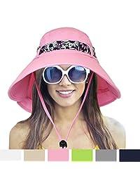 女式高级夏季太阳帽带 Flap 引体向上带   UPF 50+ 防晒宽帽檐可收纳适用于远足园艺 safari 户外