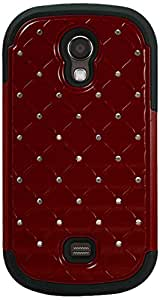 Reiko Premium Hybrid PC and Silicone Double Protection Diamond Bling Case for Samsung Galaxy Light T399 - Retail Packaging - Black/Red