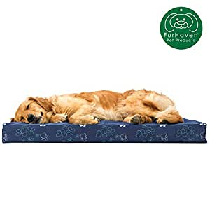 FurHaven Deluxe Orthopedic Egg Crate Mattress Pet Bed for Dogs and Cats 宝石蓝 大