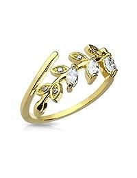 FifthCue 马眼锆石套装叶子可调节镀铑黄铜指中环或趾环 - 选择颜色 金色