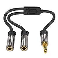 KabelDirekt Pro 系列 Y 立体声分离器 - 1 x 3.5 毫米公头至 2 x 3.5 毫米母头 - Y 型电缆分线器生产耳机、耳机和扬声器相同的音频输出(0.5 英尺,黑色)