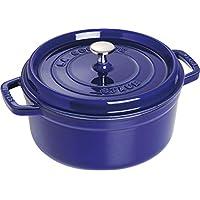 STAUB 圆形带盖珐琅铸铁锅(电磁炉适用,锅内为哑光黑色搪瓷) 蓝色 26 cm