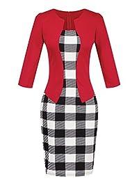 YMING 女式 2/3 袖優雅商務連衣裙辦公室緊身連衣裙腰帶