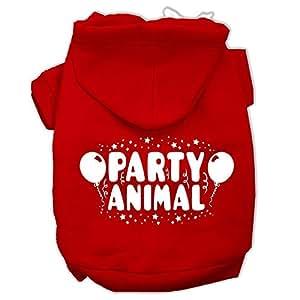 """Mirage Pet Products 12"""" 派对动物丝网印花宠物连帽衫 红色 中"""