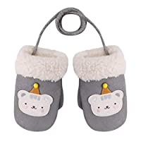 幼儿卡通动物冬季防风绒面革厚羊毛内衬手套