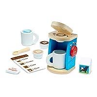 Melissa & Doug 厨房假扮游戏配件,11件酿造和服务木制咖啡机套装