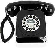 复古设计有线上帝手机 - 经典复古老式旋转表盘式桌子家庭办公室卷线电话机,带按钮拨号,标准电话插孔 - Pyle PPRETRO25BK(黑色)