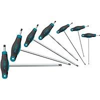 Hazet 829KK/7 斜角螺丝刀套装(短刀和长刀片用于柔性插入,六角形凹槽,7 种工具从 2 至 8 码)深蓝色