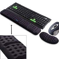 BRILA *符合人體工程學的鍵盤腕枕支撐墊舒適柔軟*泡沫膠墊防滑大鍵盤手腕掌掌支撐墊 黑色捆綁包