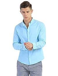 IZOD 男式 纯色衬衫长袖秋季商务休闲装夏天修身帅气薄款纯棉衬衣 A91171SH006