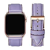 OMIU 方形表帶兼容 Apple Watch 38 毫米 40 毫米 42 毫米 44 毫米,真皮替換表帶兼容 Apple Watch 系列 6/5/4/3/2/1,iWatch SE (Lilac/玫瑰金連接器,42 毫米 44 毫米)