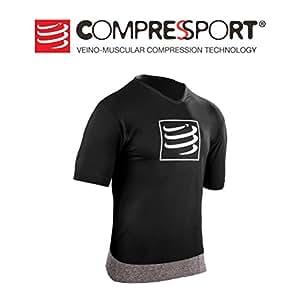Compressport 男士 运动跑步训练排汗速干瑜伽健身T恤体恤压缩服 CS-TSTN-SS99-1S 黑色 S