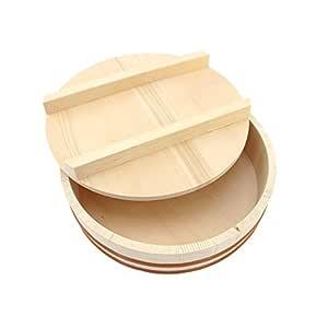 BambooMN Hangiri Sushi Oke 米饭混合浴缸带盖,1 件 天然 11.8-Inch 6955114971170a