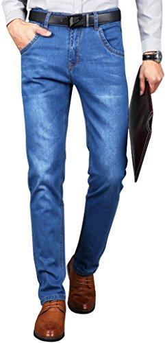 BOKOLO 伯克龙男士牛仔裤春夏季薄款直筒修身休闲长裤 男装春秋中青年中腰微弹力裤子Y021