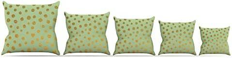 "Kess InHouse Nika Martinez""金色点和薄荷""绿色金色抱枕 20 到 20 英寸 MM1052APW04"