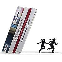 Artori 设计书端 - 金属架分隔板 - 架子的可爱书端 - 书塞 - 装饰书架 - 在跑步夫妇上倒下的书籍 - Runaway Bookend Shelf Organizer